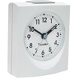 WESTCLOX 47312B Bedside Analog Alarm Clock (White) (47312B)
