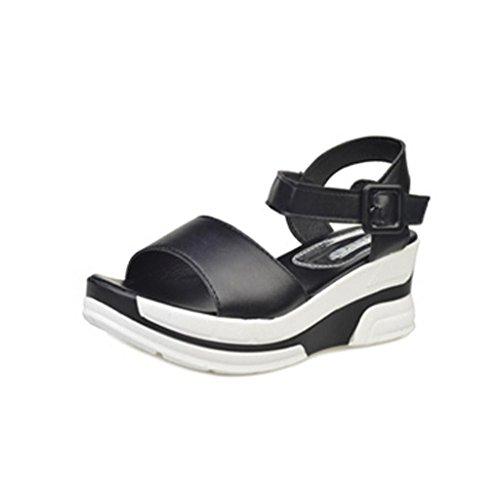 Amcool Bandage Bohemia Sandalen Peep-toe Bunt Mode Damen Schuhe Schwarz