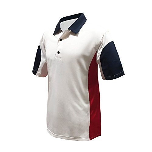 Americana Club - Monterey Club Mens Dry Swing Americana Colorblock Contrast Shirt #1196 (White/Navy/Red, X-Large)