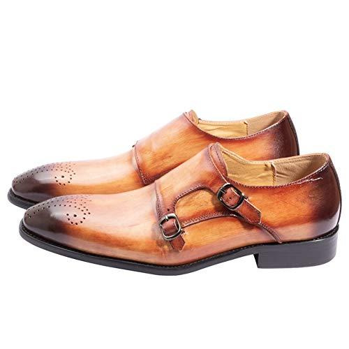 Marrón Genuino Cuero Hechos Doble A Boda Traje De Negocios Mano Formal Brown Vestido Oficina Mocasines Hombres Zapatos Hebilla ZwFvxA