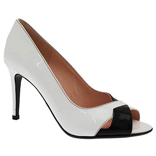 De Negro Y Toe blanco Alto Kaiser Del Talón Mezcla Patente multicolor Mujeres Peep Zapatos Peter Alda En Ante P6PU1wq