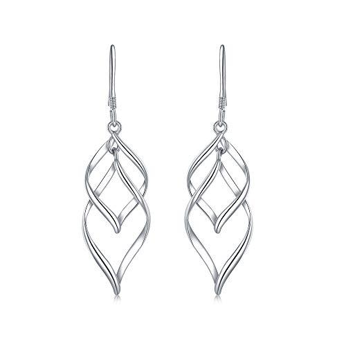 White Gold filigree Dangle Earrings Sterling Silver Post Twist Wave Drop Earrings for Women