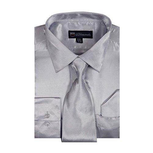 Milano Moda Men's Dress Shirt with Tie/Handkerchief HLSG08 New York -