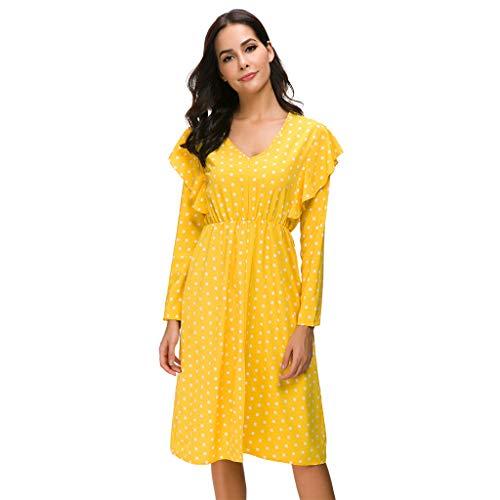 Keliay Bargain Women Fashion Dot Ruffle Deep V Neck Long Sleeve Dress Yellow (Formal Johnny Dress)