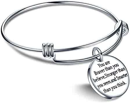 lauhonmin You are Braver Stronger Smarter Than You Think Inspirational Expandable Bangle Bracelet Women