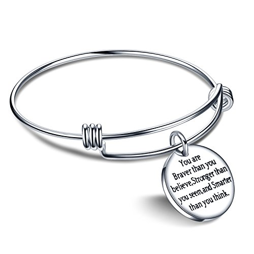 You're Braver Stronger Smarter than you think Inspirational Bracelet Expandable Bangle Gift for Women Men (Stainless Steel)