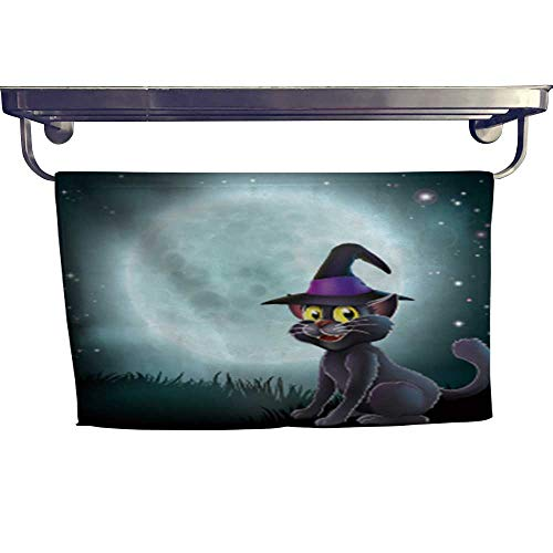 Leigh home Dry Fast Towel, of a Halloween Witch cat in a Pointy hat in Front of a Big Full Moon on a Misty Night,Gym Swim Hotel Use W 27.5