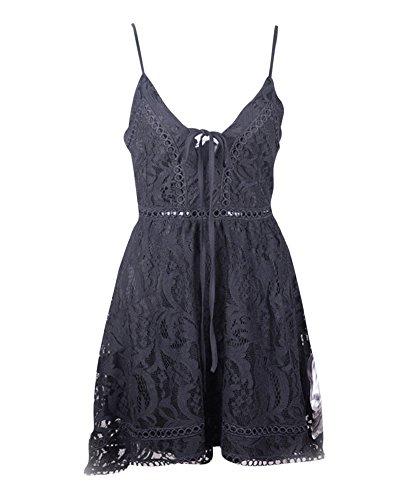 Noir Dentelle Soire Dress Quge Sans Halterneck Backless Plage Femme Crochet Manches Robe xfPSgC