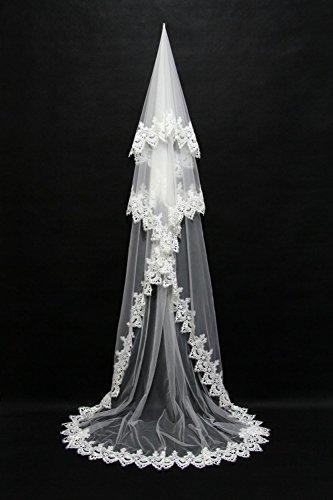 - Lydia Wedding Veil One-tier Blusher Veils Chapel Veils Cathedral Veils Lace Applique Edge Tulle White Ivory , white , 3m