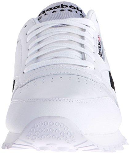 Reebok Mens Classic Leather Pop Fashion Sneaker White/Black qsgLLcdY