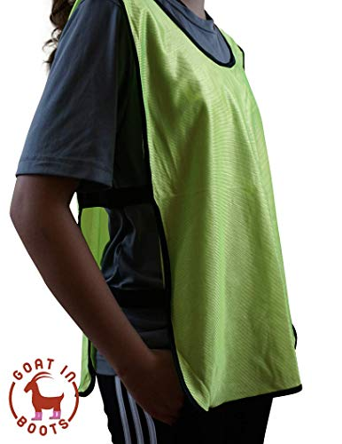 Goat in Boots Scrimmage, Training Vests, Lacrosse/Soccer Pinnies 6 in a Pack - Perfect for practices and Pick up Games for Any Team Sport (Green, Adult (X Large))