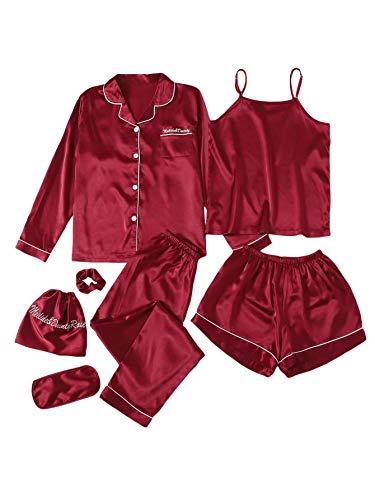SheIn Women's 7pcs Pajama Set Cami Pjs with Shirt and Eye Mask