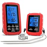 GBATERI Digital Barbecue Meat Thermometer with Timer Alarm Wireless Remote Grill Thermometer with Dual Probes for Safe Remote BBQ Grilling, Kitchen Cooking, Smoker, BBQ Meat Grill Oven Thermometer-Red