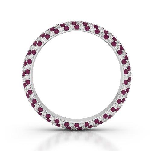 G-H/VS 1,35CT Coupe ronde sertie de diamants Rubis et Full Eternity Bague en platine 950Agdr-1115