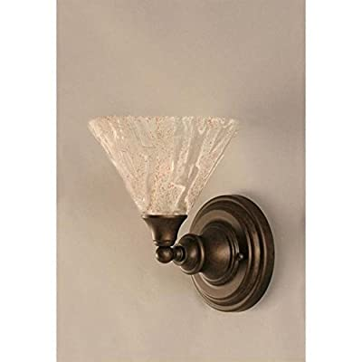 """Toltec Wall Sconce in Bronze with 7"""" Italian Ice Glass"""