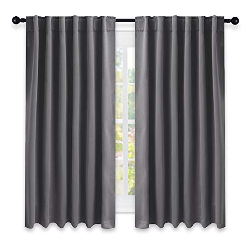 NICETOWN Blackout Curtain Panels for Living Room - (Grey Color) 52x63 Inch, 2 Panels Set, Room Darkening Blackout Drapes for Window (Curtain Set)