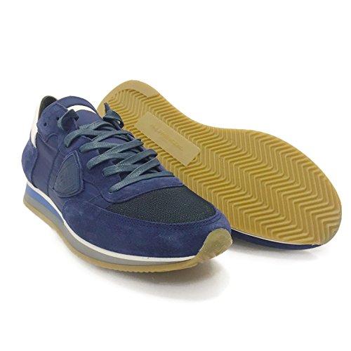 Sneaker Da Uomo Modello Philippe Low Tropez Lu Mondial Bleu / Blanc - Sneaker Di Design In Pelle E Tessuto Di Alta Qualità - Blu / Bianco