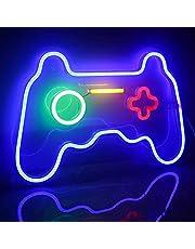 Spel neonskyltar neonljus spel LED neonljus väggkonst blå neon nattlampa för barn spelrum bar sovrum heminredning 27,5 x 41 x 3 cm