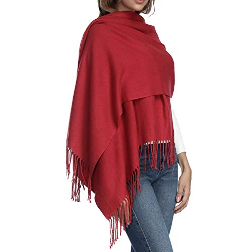 Womens Thick Soft Cashmere Wool Pashmina Shawl Wrap Scarf - Aone Warm Stole(Wine -