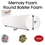 FoamRush 8'' Diameter x 44'' Long Premium Quality Round Bolster Memory Foam Roll Insert Replacement (Ideal for Home Accent Décor Positioning and General Fitness) Made in USA