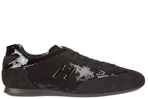 Hogan Damesschoenen Suède Sneakers Sneakers Olympia H Metal Zwart