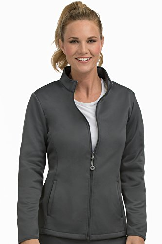 Med Couture Women's Bonded Fleece Med Tech Warm Up Jacket, Pewter, X-Small (Top Pull Pewter)