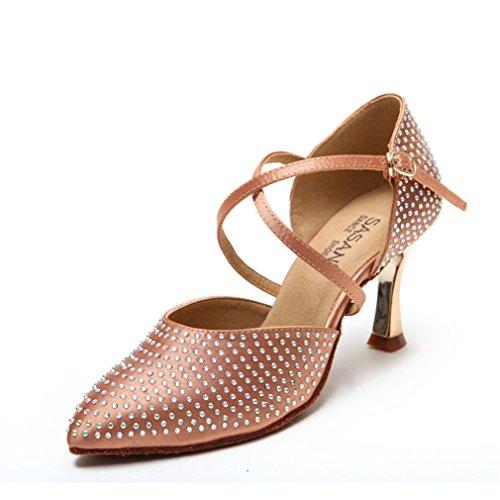 Chaussures Danse Danse en Chaussures Filles Sangle de Modern'Jazz Satin Sandales Haut Chaussures Cuir Danse Latine cheville de Samba 36 de Doux Chaussures Latine BYLE de Danse de Talon SwY8qIFxw