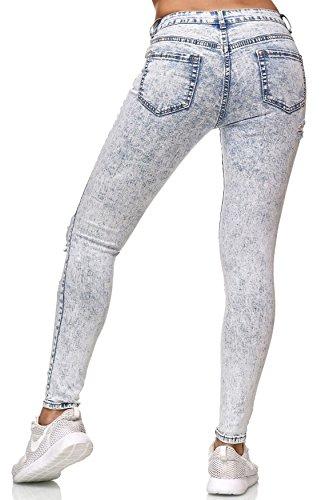 D2352 Tubolare Pantaloni Jeans Arizonashopping Distrutto Blu Strappati Donne t1wqY
