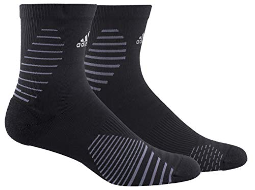 adidas Unisex Running Mid-Crew Sock (1-Pair), Black/Onix/Silver Reflective, Large, (Shoe Size 9.5-12) from adidas