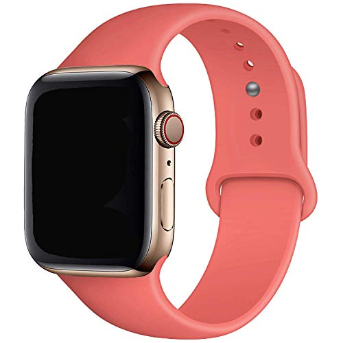 MadeforOnline : Band Compatible with Apple Watch 44mm 42mm 40mm 38mm Soft Silicone Waterproof Replacement Band iWatch Bands Wristband for Series 4,3,2,1, Nike+, S/M M/L (Coral Red, 40/38mm M/L)