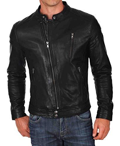 King Leathers Men's Genuine Lambskin Real Leather Jacket Motorcycle Biker Stylish Jacket MJ1302 Black - Leather Satin Coat