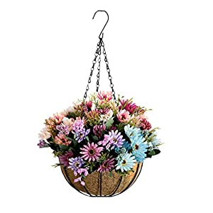 Mynse Fake Flower China Aster Hanging Basket for Office Balcony Home Christmas Decoration Hanging Flowerpot Artificial Daisy Flowers Multicolor (Big Basket) 38