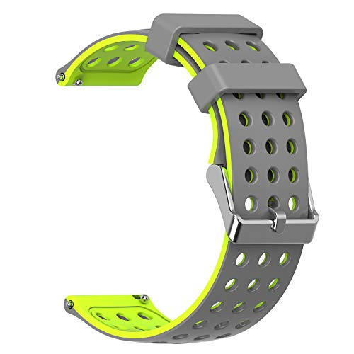 Moretek 20mm Replacement Bands for Samsung Gear S2 Classic and Moto 360 2nd Mens 42mm / Huawei Watch 2 Sport/Samsung Gear Sport (GreyYellow, 20mm)