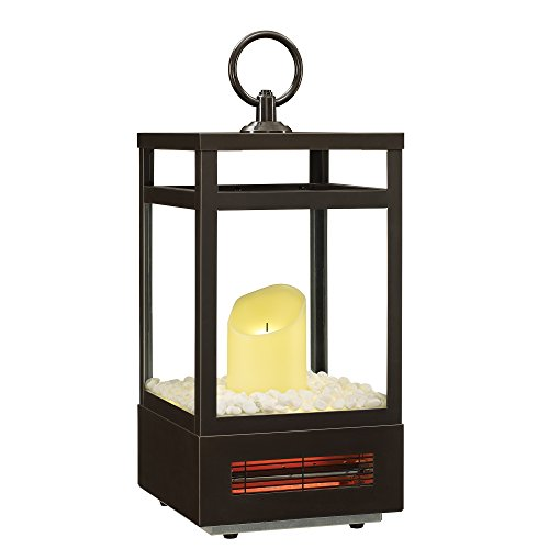 "Duraflame 21"" Portable LED Electric Flameless Candle Lantern with Infrared Quartz Heater for Indoor Use, Bronze"