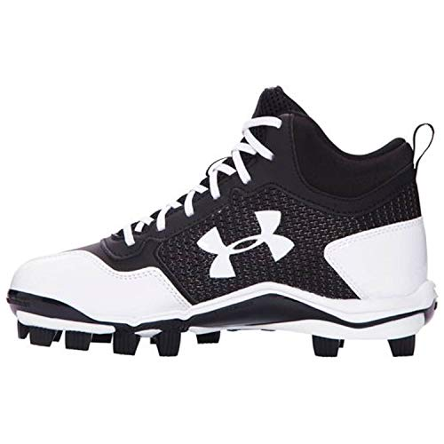 Under Armour Heater Mid TPU Jr Baseball Shoes 011Black/White 3 by Under Armour (Image #1)
