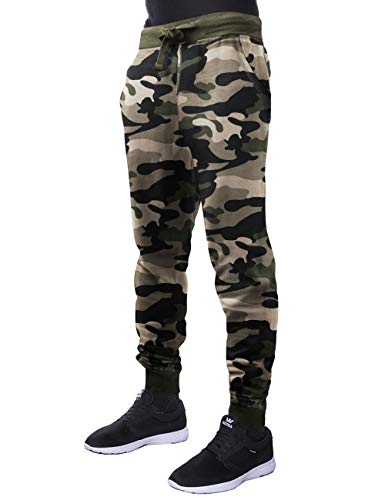 Hat and Beyond Mens French Terry Joggers Lightweight Zipper Pockets Active Sweatpants (Medium, 1ma22_Green camo)