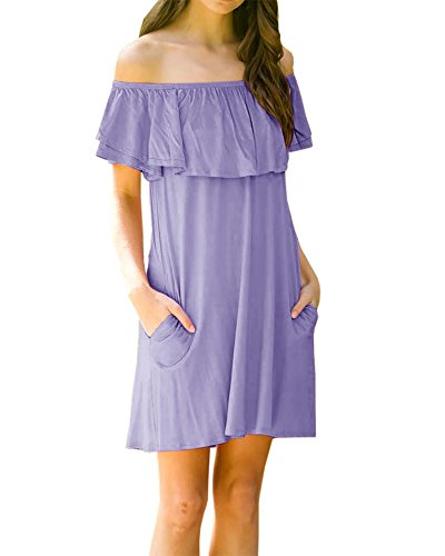 Dress Purple Solid Dresses Foshow Loose Summer with Short Pockets Womens Off Shoulder Beach Ruffle qOvftOc