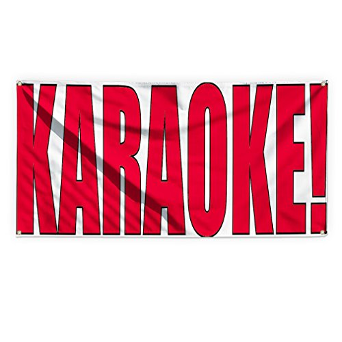 Karaoke! Outdoor Advertising Printing Vinyl Banner Sign With Grommets - 2ftx3ft, 4 Grommets by Sign Destination