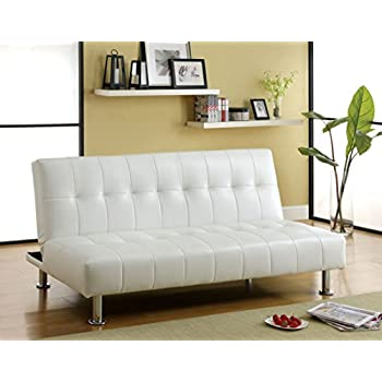furniture of america botany leatherette convertible sofa white
