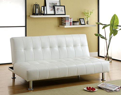 Furniture of America Botany Leatherette Convertible Sofa, White