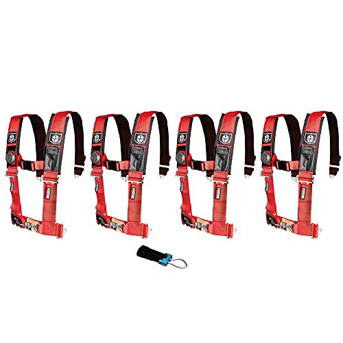 (Pro Armor A114220RD P151100 Red 4-Point Harness 2 Inch Straps, 4 Pack RZR UTV Seat Lap Belt with Bypass Clip)