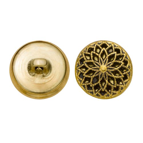 C&C Metal Products 5353 Filigree Metal Button, Size 30 Ligne, Antique Gold, 36-Pack by C&C Metal Products Corp