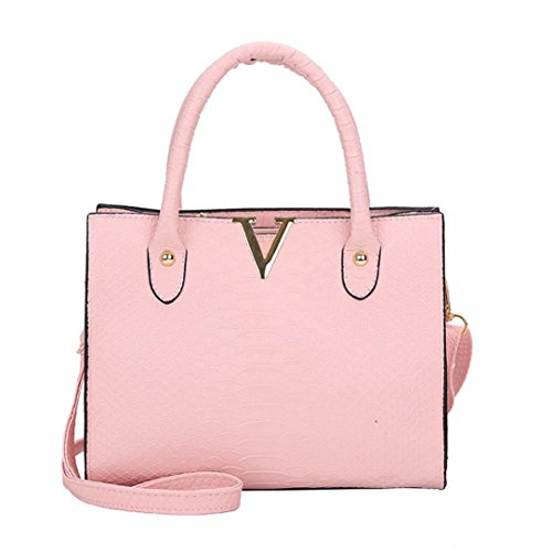Bolsos bolso bolso mujer estilo de mano piel bolso de Morwind portatil viaje cocodrilo bolsa 25x12x20cm bolsa de cartera mochilas bandolera de Rosa de mujer piel bolso mujer ZrTzZwq5
