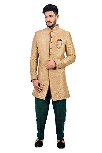 Natural Jute Indian Wedding Indo-Western Sherwani for Men by Saris and Things