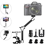 11 Inch Adjustable Articulating Israeli Friction Magic Arm w/Super Clamp + Super Wide Phone Clip + Hi-Torque Knob Screw + Gopro Adapter Compatible with Gopro Sony DSLR Camera Action Camera Cell Phone
