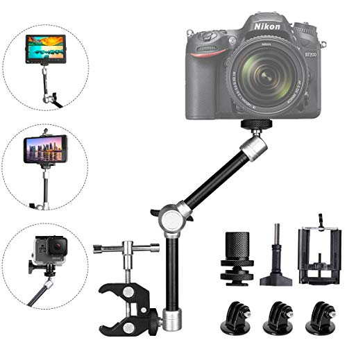 rticulating Israeli Friction Magic Arm w/Super Clamp + Super Wide Phone Clip + Hi-Torque Knob Screw + Gopro Adapter Compatible with Gopro Sony DSLR Camera Action Camera Cell Phone ()