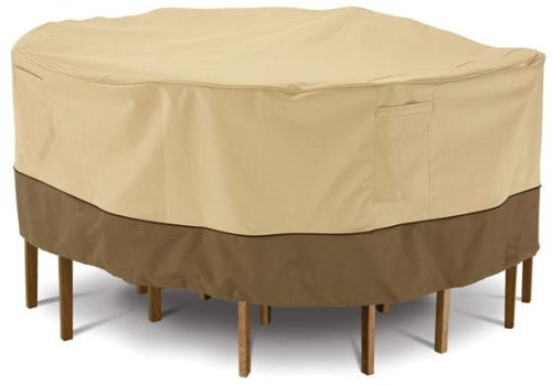 Classic Accessories Veranda Round Patio Table & Chair Set Cover - Durable and Water Resistant Patio Furniture Cover, Tall (71922) (Crate And Barrel Furniture Outdoor)