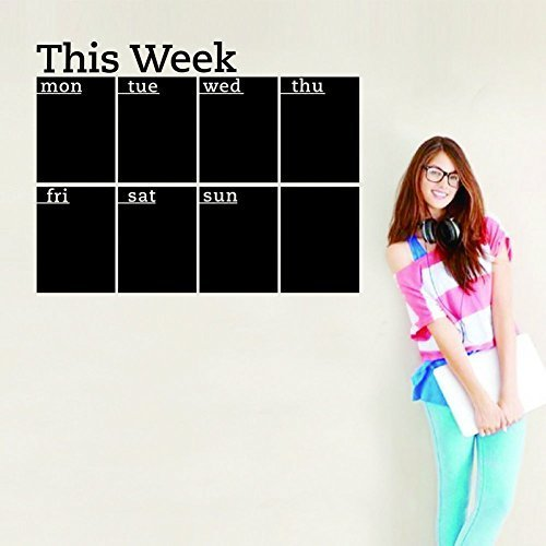 Fashion Designed Removed Vinyl Weekly Calendar Blackboard Sticker Working Calendar Studying Calendar Vinyl Blackboard Wall ()