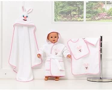 5 Parca Bebek Bornoz Seti, Kapsonlu Havlu, Havlu, Bornoz, Kese, Önlük Pembe Tavşan