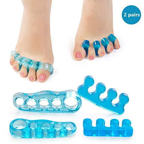 WIYFA Gel Toe Separators, Straighteners & Toe Stretcher for Fighting Bunions, Hammer Toes, Correct Your Toes Naturally, Use for Pedicure, Yoga & Running ()
